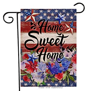 Artofy Home Sweet Home Decorative Garden Flag, House Yard USA July 4th Decor Sign American Stars Flower Outdoor Small Burlap Flag Double Sided, Spring Summer Home Outside Patriotic Decorations 12x18