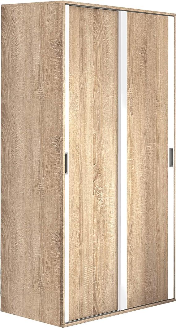 HomeSouth - Armario Dos Puertas correderas Dormitorio habitación, Acabado en Color Blanco y Cambria, Modelo Lara, Medidas: 120 cm (Largo) x 207 cm (Alto) x 55 cm (Fondo): Amazon.es: Hogar
