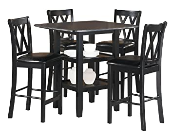 Homelegance Norman 5 Piece Counter Height Dining Set With Two Display  Shelves, Black