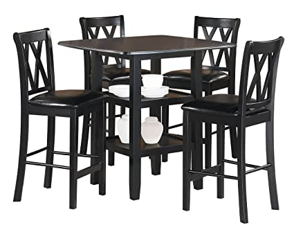 Amazon Com Homelegance Norman 5 Piece Counter Height Dining Set