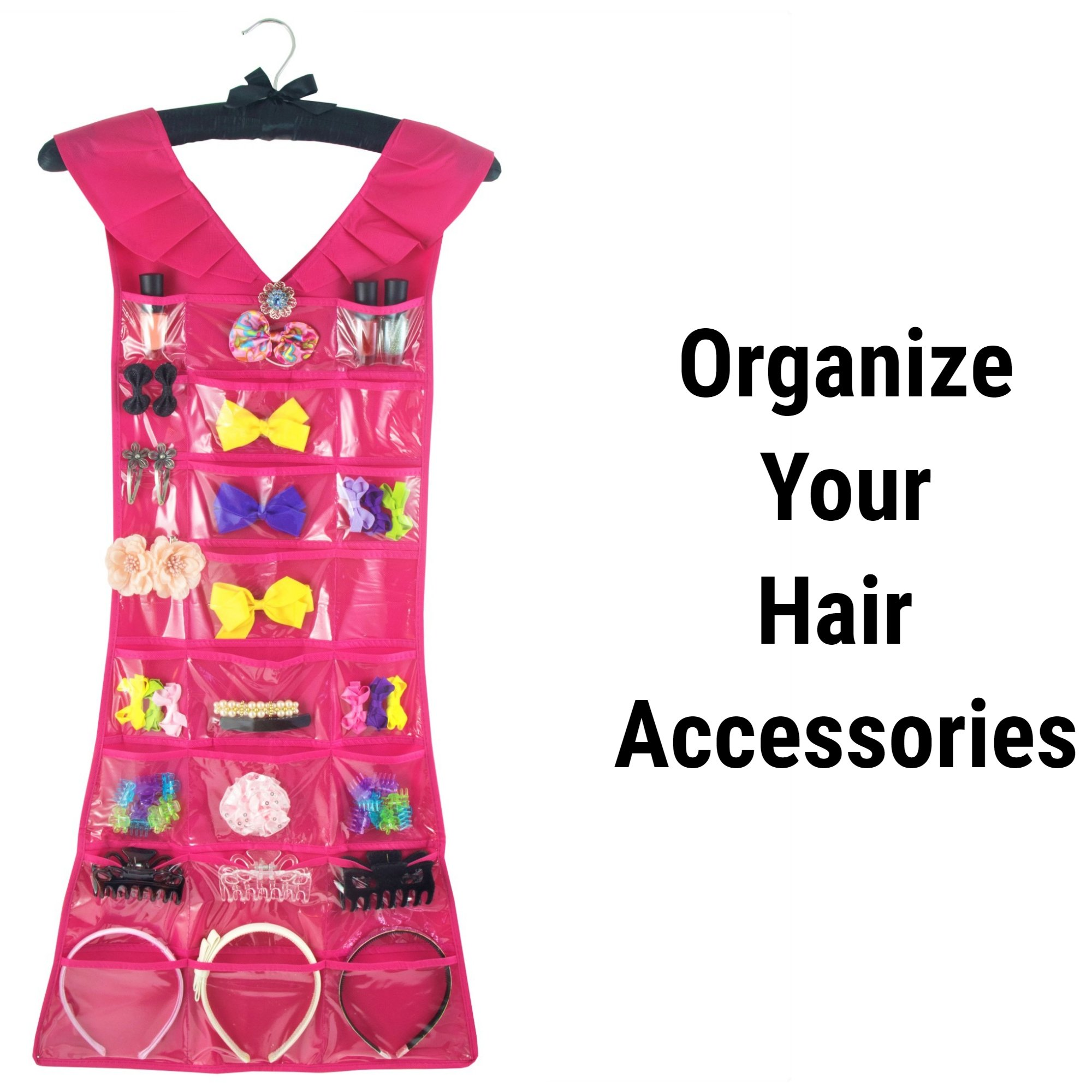 Marcus Mayfield Hanging Jewelry Organizer, Closet Storage with Satin Hanger, 2 sided for Jewelry, Hair Accessories & Makeup (1-Black Dress & Pink Satin Hanger, 24 pockets 17 hooks) by Marcus Mayfield (Image #5)