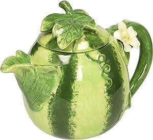 Ceramic Hand-Made Watermelon Teapot, Green