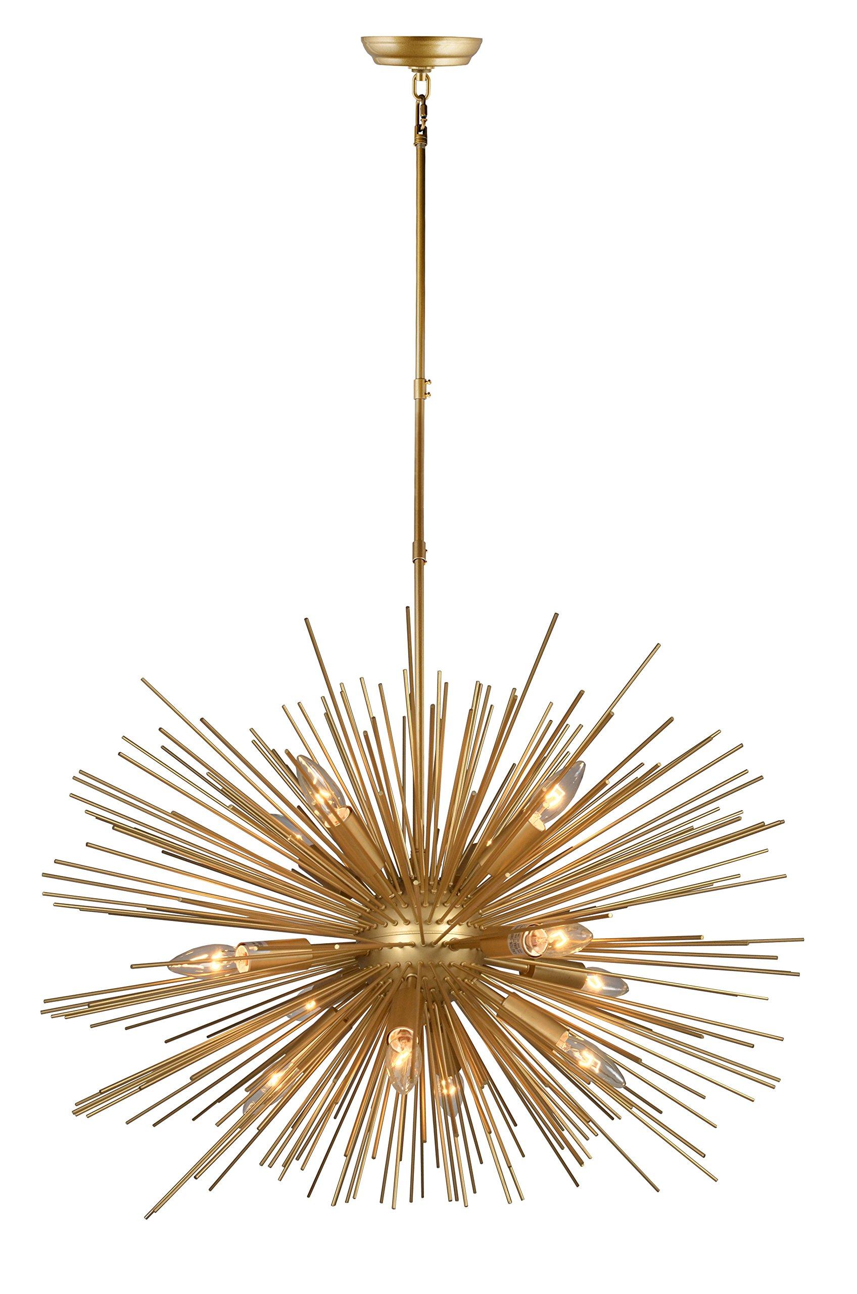 Decomust 30 Inch Astra Sputnik Light Satellite Pendant Light Sputnik Chandelier Gold Ceiling Light Fixture Rod