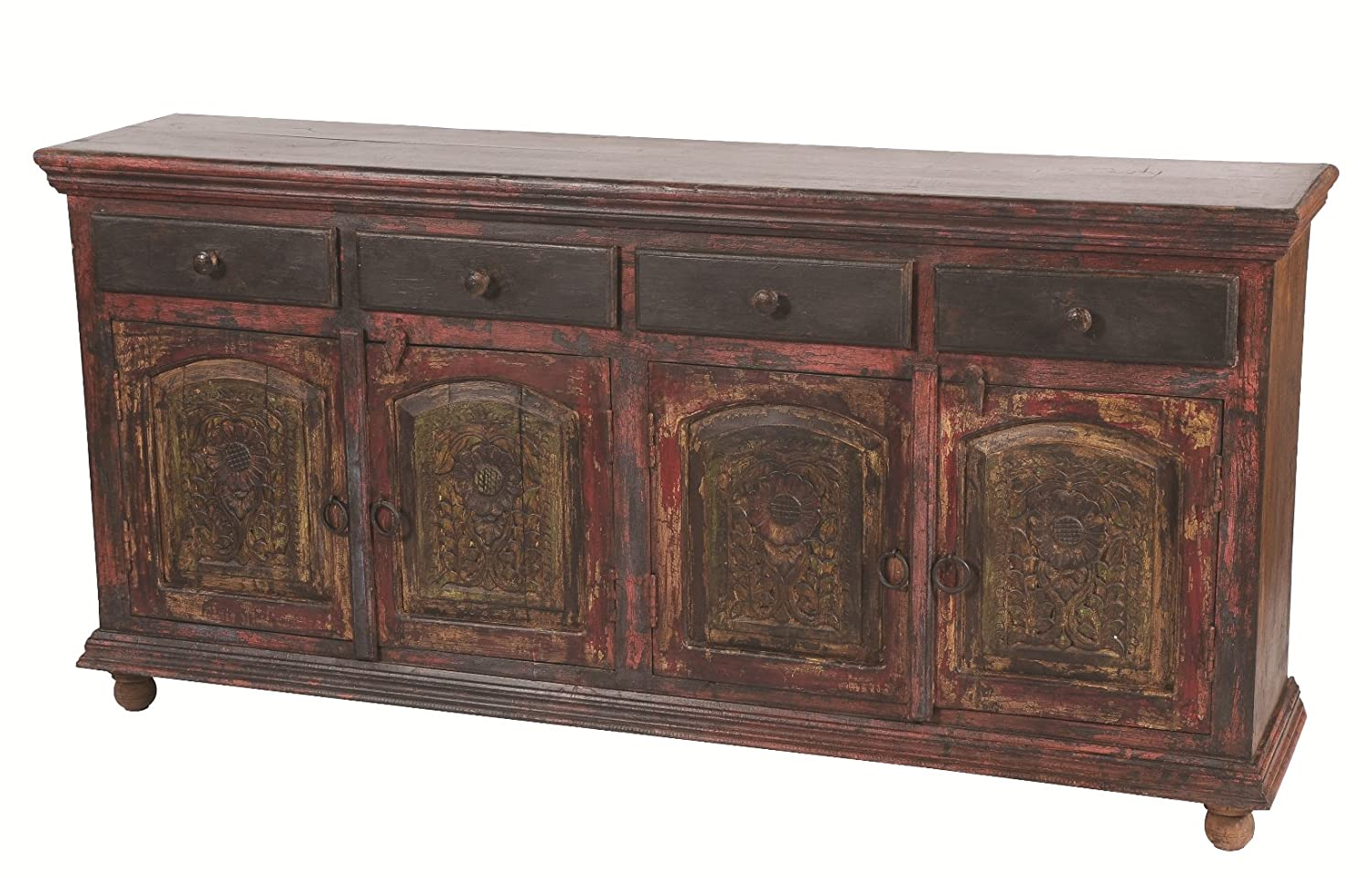 Moti Furniture Arvada Buffet with 4-Drawer and 4-Carved Door