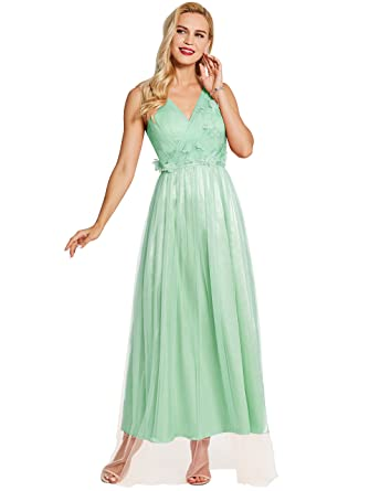 80f8eb5b1a3 Tanpell Women s V Neck Appliques A Line Prom Gown Bridesmaid Dress Mint6