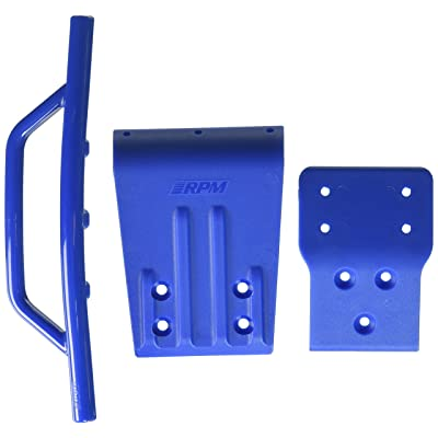 RPM Traxxas Slash 4x4 Front Bumper and Skid Plate, Blue: Toys & Games