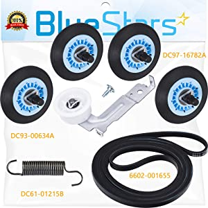 DC97-16782A Dryer Drum Roller, 6602-001655 Drum Belt, DC93-00634A Idler Pulley and DC61-01215B Tension Spring by Blue Stars – Exact Fit For Samsung & Kenmore Dryers - Replaces AP5325135 AP4373659