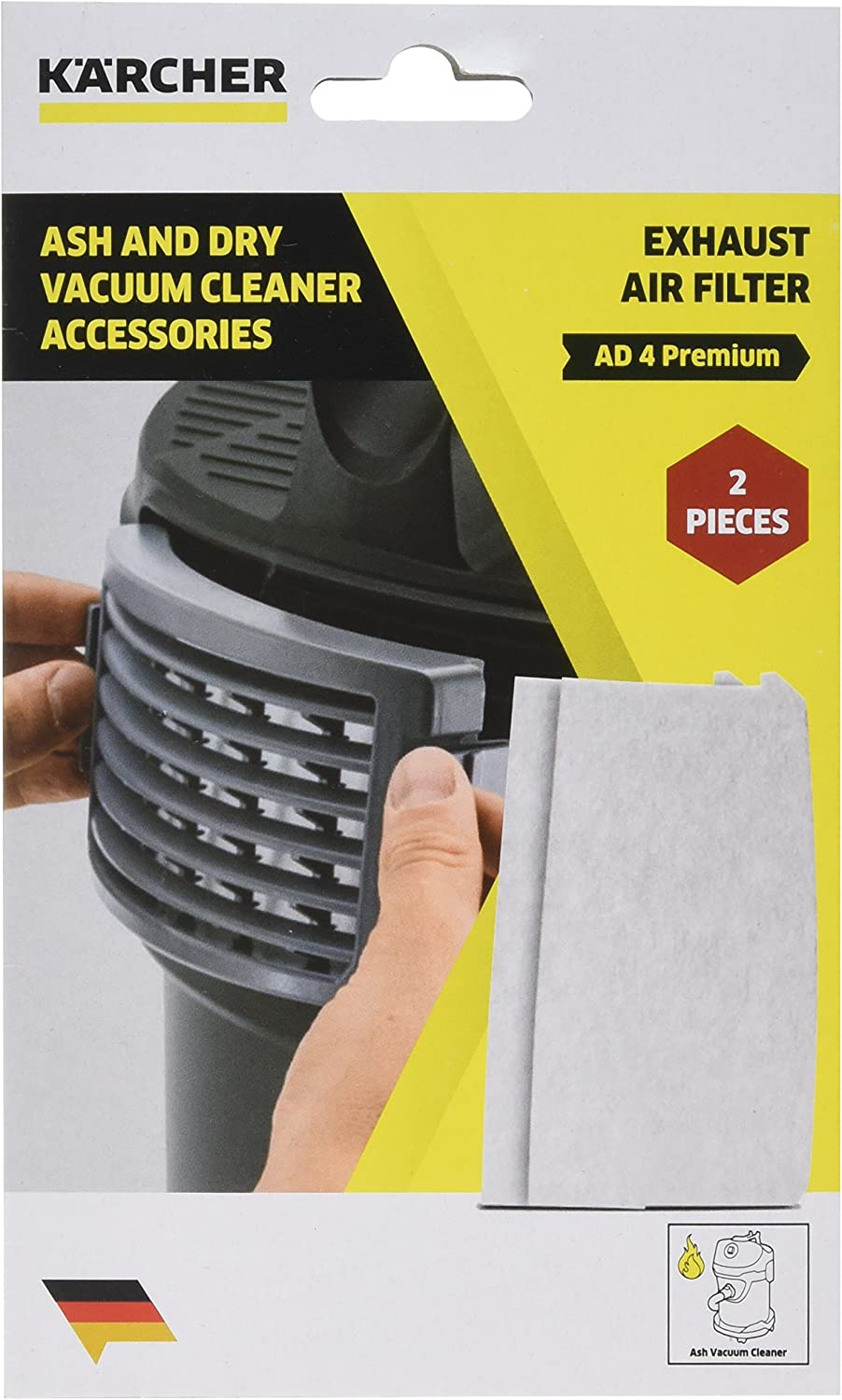KAER5 2.863-262.0 Karcher AD 4 Premium Exhaust Filter for Ash and Dry Vacuum Cleaners, White