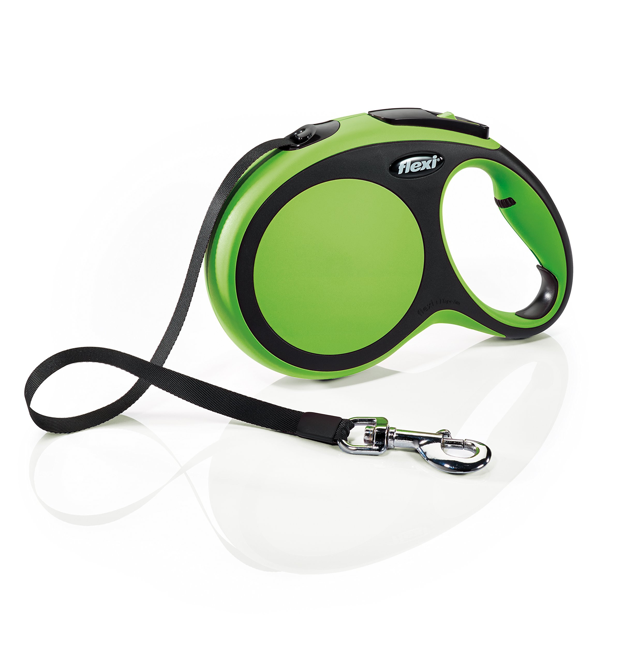 Flexi New Comfort Retractable Dog Leash (Tape), 26 ft, Large, Green by Flexi