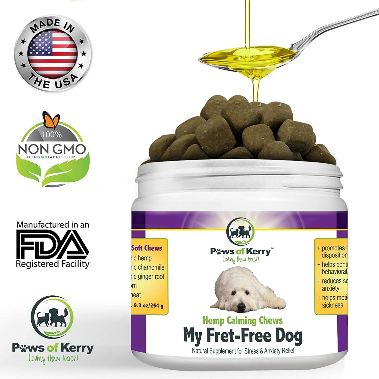 #1 Calming Treats for Dogs Anxiety, Stress Relief from Separation Anxiety, Natural Calming Aid for Motion Sickness, Storms with Organic Hemp Oil, L-Tryptophan & Organic Chamomile |120 Soft Chews USA. Paws of Kerry