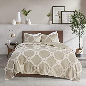 """Madison Park Chenille Tufted 100% Cotton Quilt All Season, Lightweight, Breathable Coverlet Bedspread Bedding Set, Matching Shams, Full/Queen(90""""x90""""), Pacey, Ogee Taupe"""