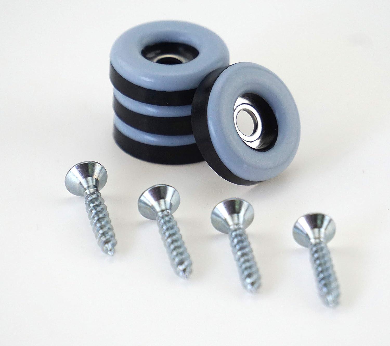 DFM –  Tacos para muebles (16 Redondo, diá metro 19 mm –  5 mm de espesor, incluye tornillo 3,5 mm x 20 mm/recubrimiento de PTFE para muebles (/teflongleiter//suelo para sillas S&S-Sh