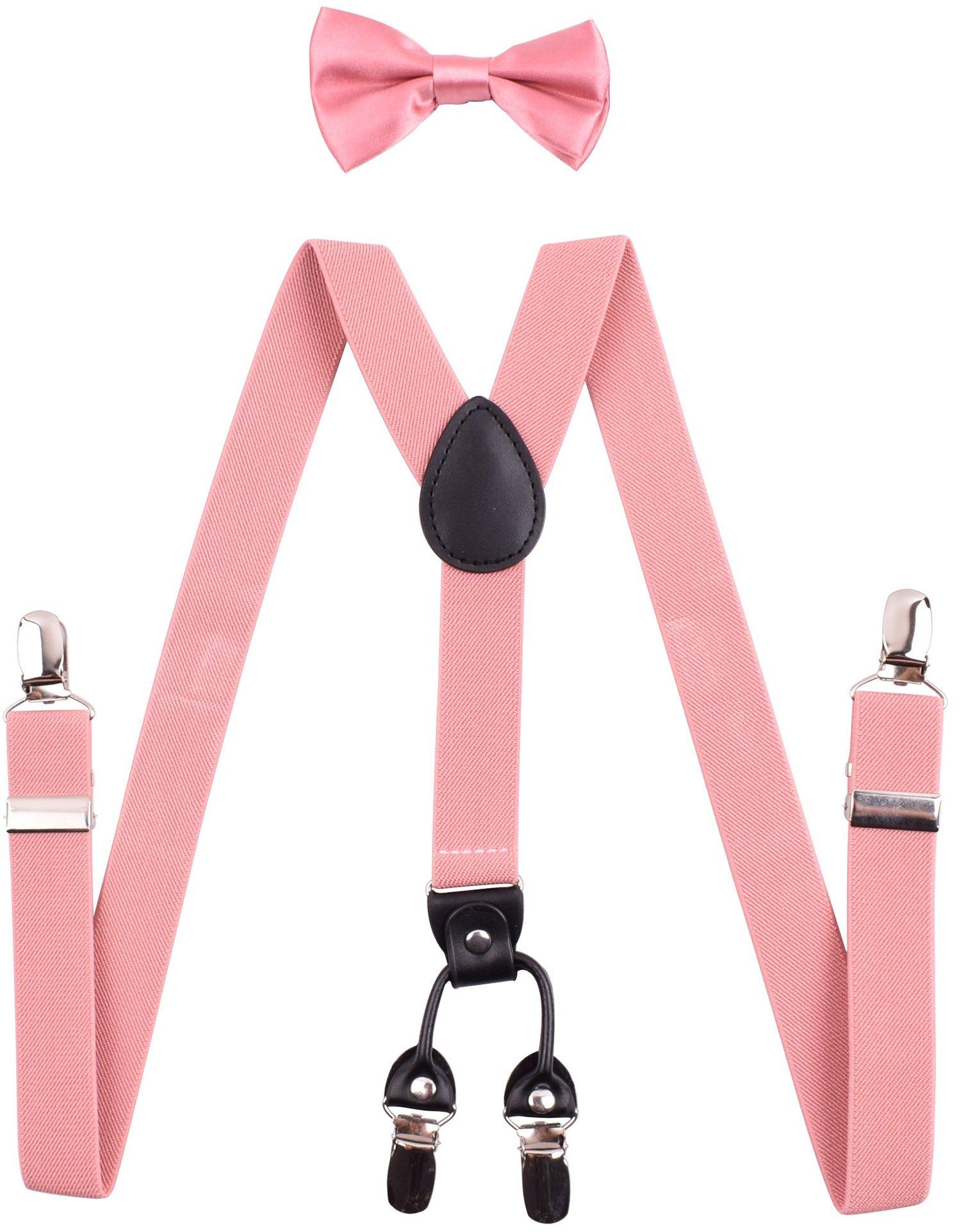 YJDS Boys' Suspenders and Bow Tie Set Adjustable Y Back Coral
