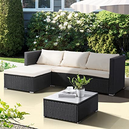 Uenjoy 5PC Outdoor Rattan Wicker Patio Furniture Set Cushioned Sofa & Table  Garden Lawn Black - Amazon.com : Uenjoy 5PC Outdoor Rattan Wicker Patio Furniture Set