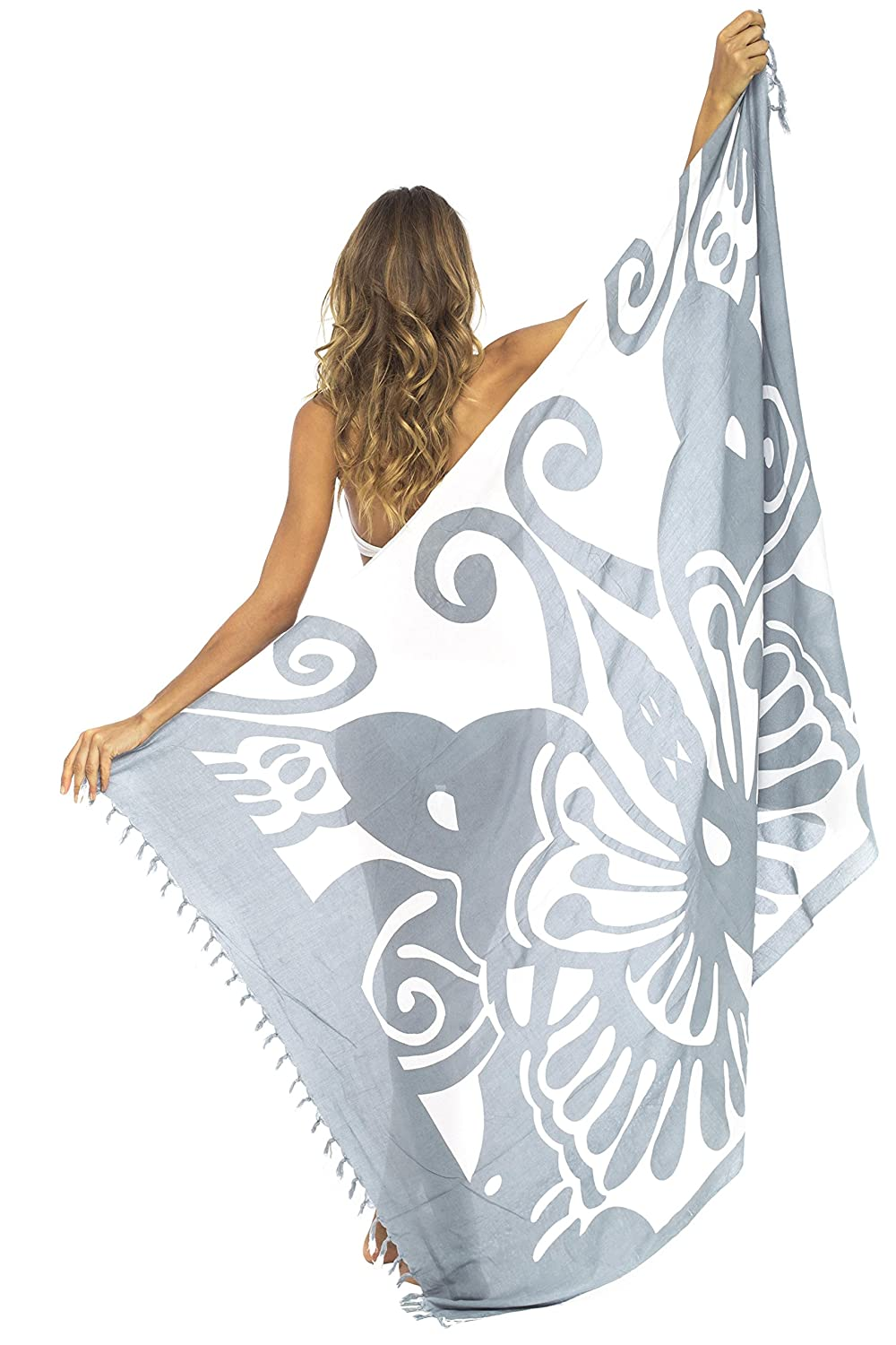 be864da188165 Butterfly Beach Cover Ups Sarong Wrap soars at the beach or pool with bold  tropical contrasts, a whimsical print and tasseled fringe