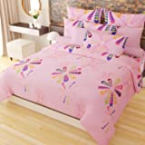 Home Candy Fancy 152 TC 3-D Double Bedsheet with 2 Pillow Covers - Geometric, Pink