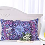Sleepwish Pink and Purple Glowing Mandala Pillowcase Bohemian Floral Mandala Pillow Case Bright Living Room Decor 20x30 inches (1 Case)