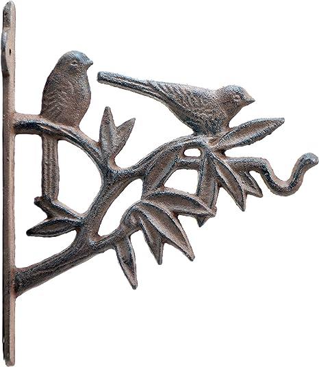 "Birds In Tree Decorative Plant Hanger Cast Iron Flower Basket Hook 7.625/"" Deep"