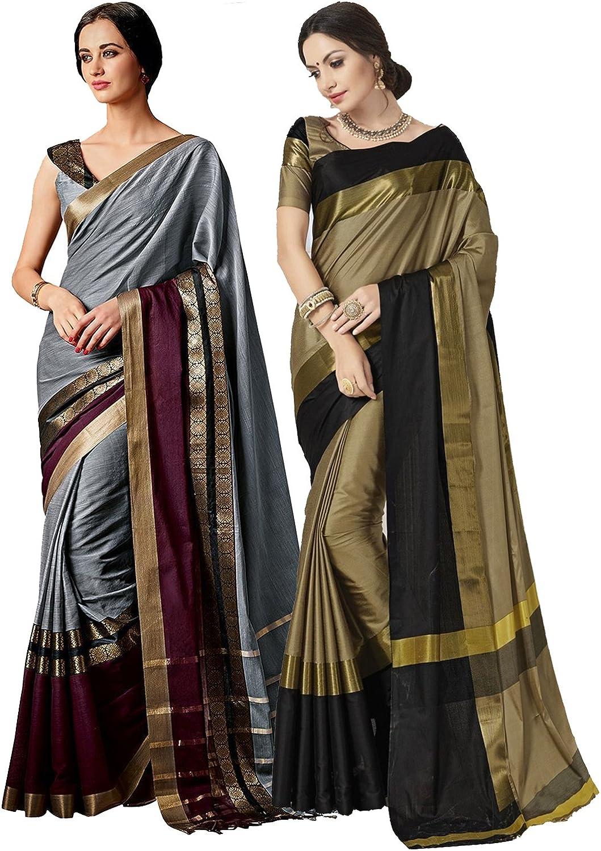 Elina fashion Pack of Two Sarees for Indian Women Cotton Art Silk Printed Weaving Border Saree || Sari Combo