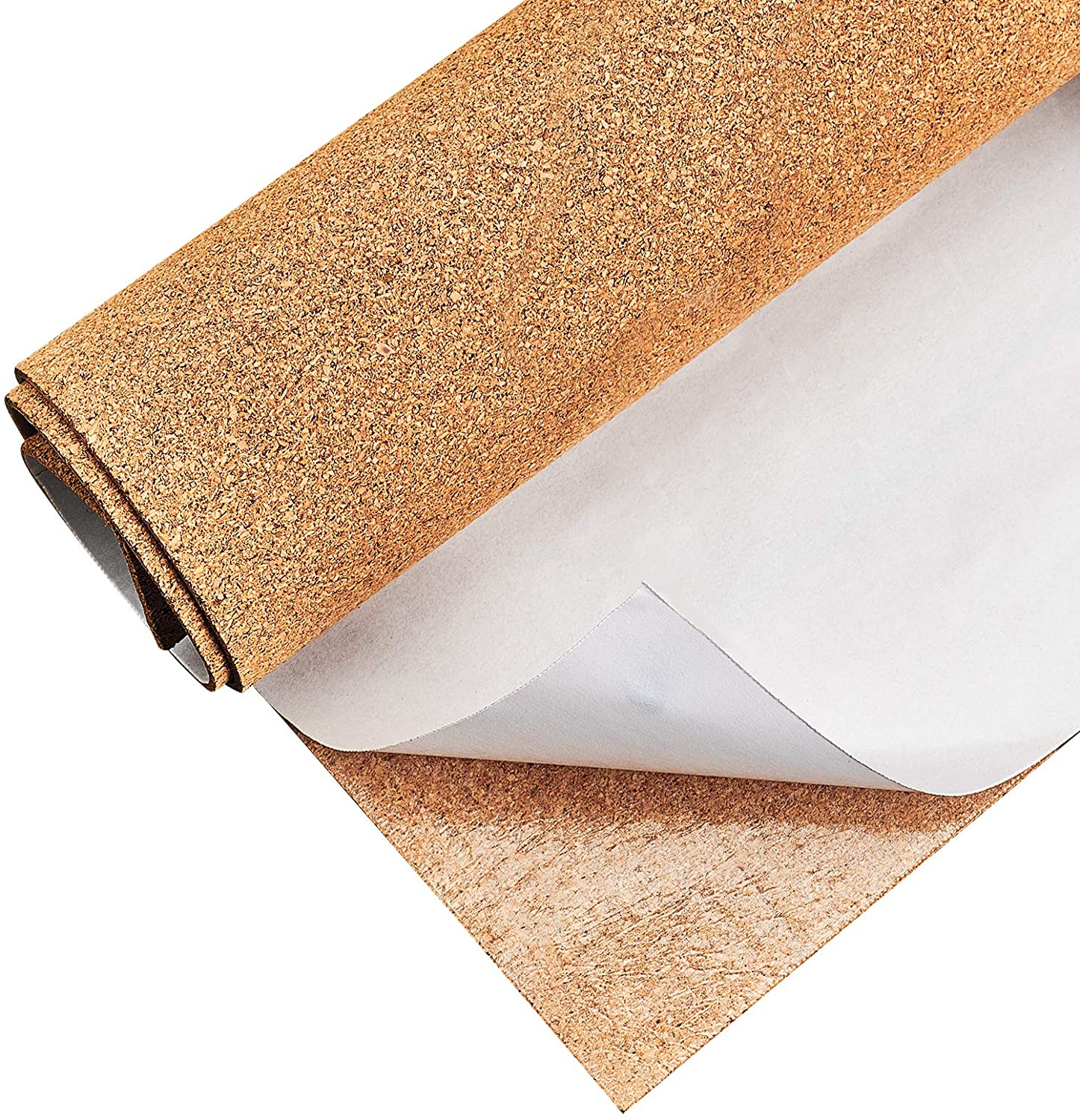 BENECREAT 1mm Thick Adhesive Cork Roll Liner, 12x24 Inch Insulation Cork Roll for Bulletin Board, Coasters, Door Signs and Floor Wall Decors