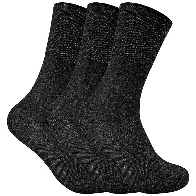 3 Pack, fina Wide parte superior no elástica térmica diabéticos Calcetines para mala circulación Negro THRDIAL05: Amazon.es: Ropa y accesorios