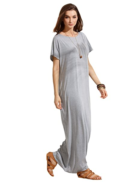 866daea85a3 Image Unavailable. Image not available for. Color  Verdusa Women s Summer Casual  Loose Long Dress Short Sleeve Pocket Shift Maxi ...