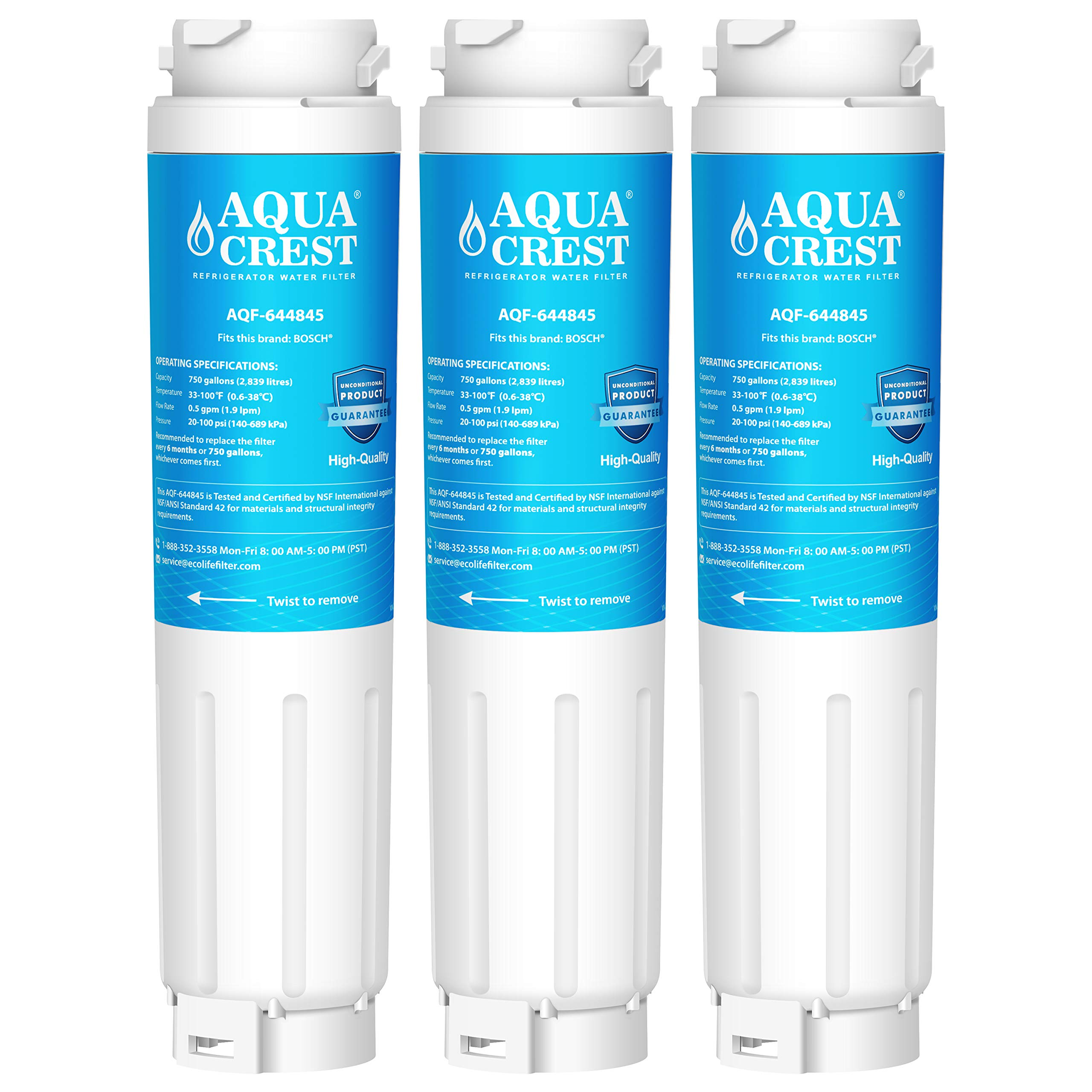 AQUACREST 644845 Replacement Refrigerator Water Filter, Compatible with Bosch Ultra Clarity 644845 9000194412 9000 077104, Miele KWF1000, Haier 0060820860 0060218743 (Pack of 3)