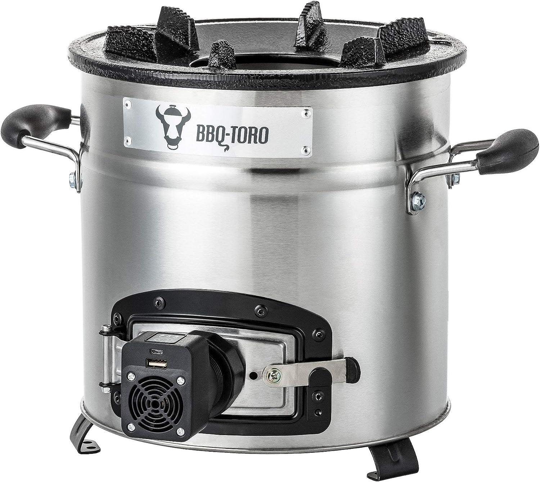 BBQ-Toro Estufa Cohete Rakete # 3 | Horno Cocina Cohete de Acero Inoxidable para Horno Holandés, Sartenes de Parrilla y Mucho más | + Ventilador de refrigeración USB