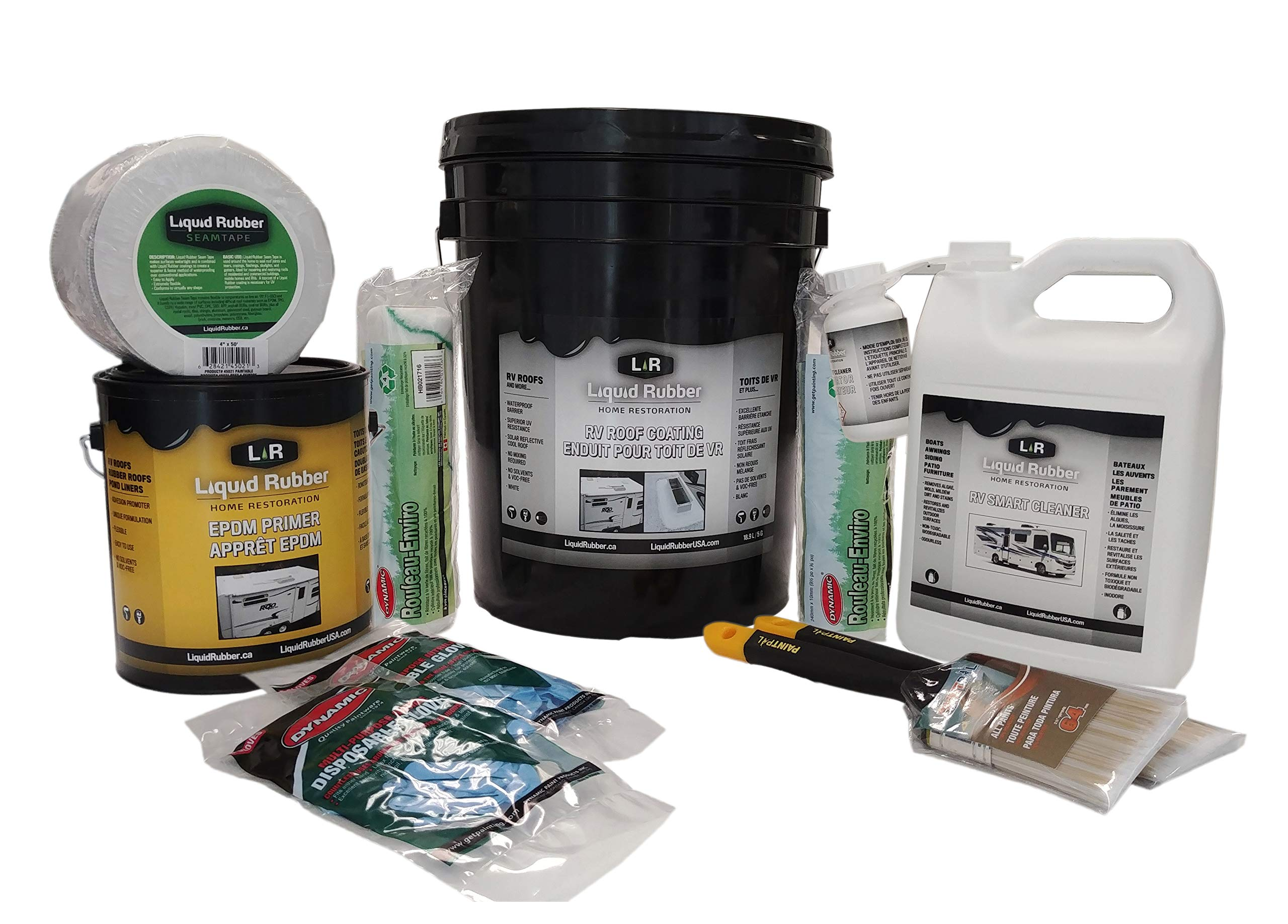 Liquid Rubber RV Roof Coating/Sealant 5 Gallon Kit - Includes RV Coating, 4'' x 50' Seam Tape, EPDM Primer, Cleaner, Brushes, Rollers, and Gloves | Brilliant White by Liquid Rubber USA (Image #1)