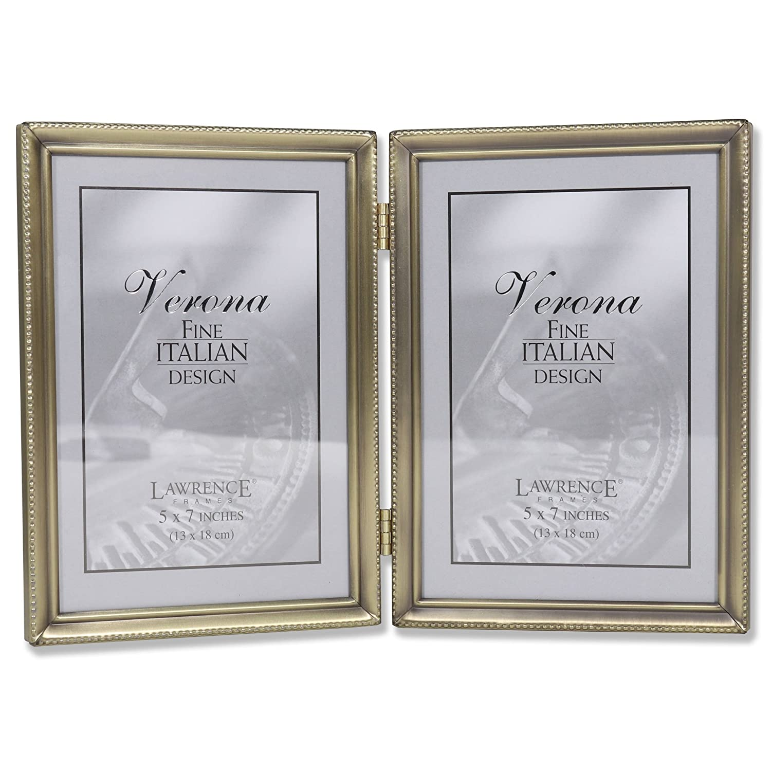 Buy Lawrence Frames Antique Brass 5x7 Hinged Double Picture Frame ...