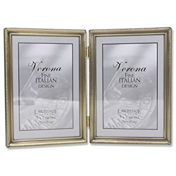 Amazoncom Lawrence Frames Antique Brass 5x7 Hinged Double Picture