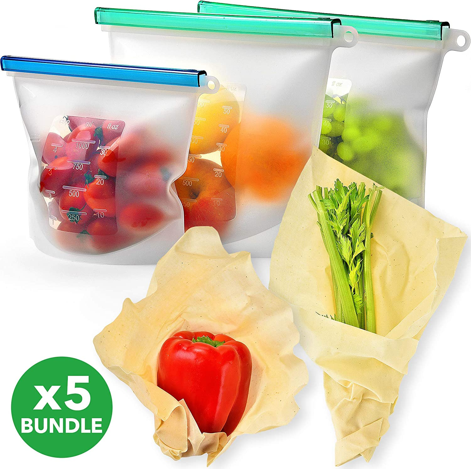 Reusable Silicone Food Storage Bag Set and Beeswax Wrap KIVA.WORLD - Bundle Includes 2 Large 50 OZ & Quart Airtight Seal Leakproof Clear Bags - 2 Extra Large Bee Wax Food Wraps Non Dyed Organic Cotton