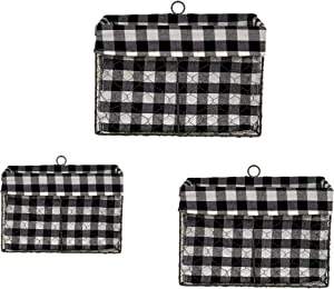 THE NIFTY NOOK - SET OF 3 Farmhouse Wall Mount Wire Baskets Liner Set Home and Kitchen Storage (Farmhouse Wall Baskets - Black & White Checkered)