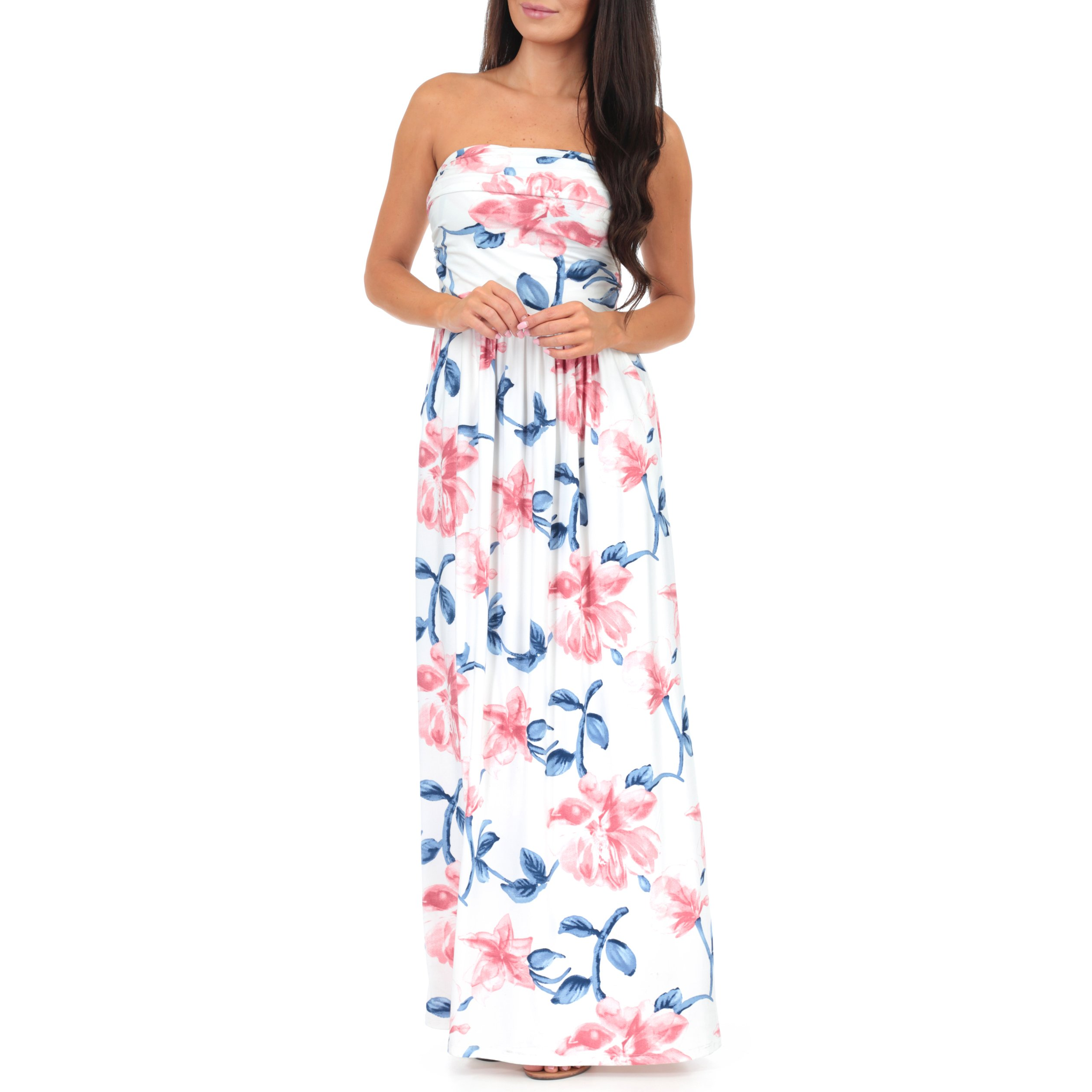 Women's Strapless Ruched Maxi Tube Maternity Dress with Pockets by Rags and Couture - Made in USA