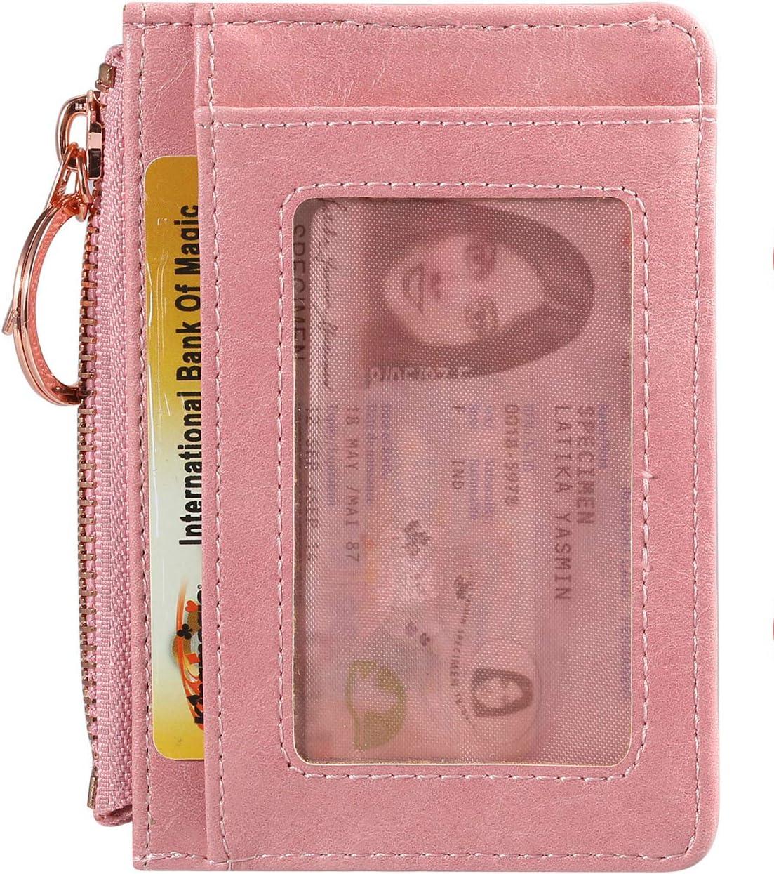 Leather Card Case Holder Front Pocket Wallet Change Purse for Women Girls keychain Beige