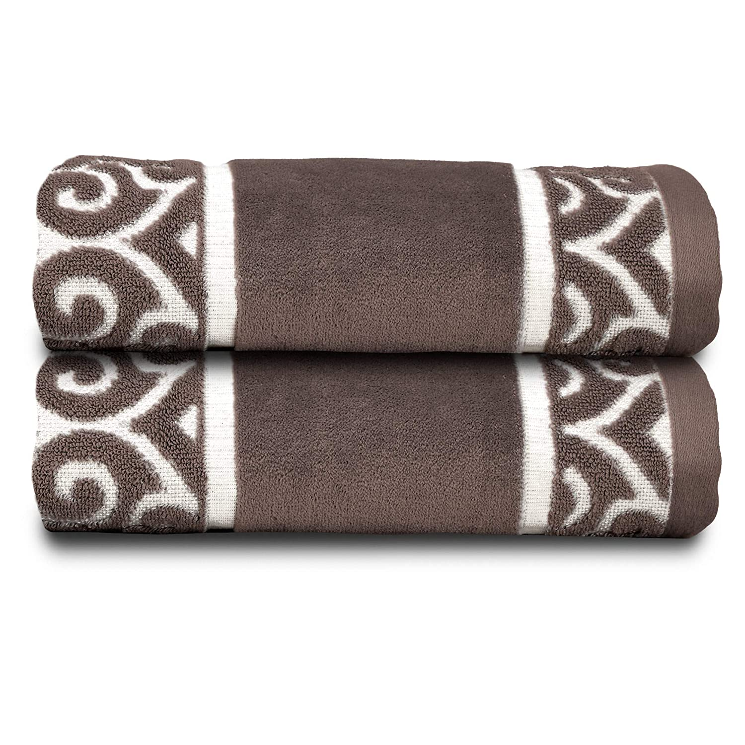 Soft Textilz Elegant 2 Piece Lightweight Luxury Kitchen Hand Towel Set - Premium European Decorative & Absorbent - Fancy Home/Guest Bathroom Cotton Towels - Large 35x19 - Charm Design Brown
