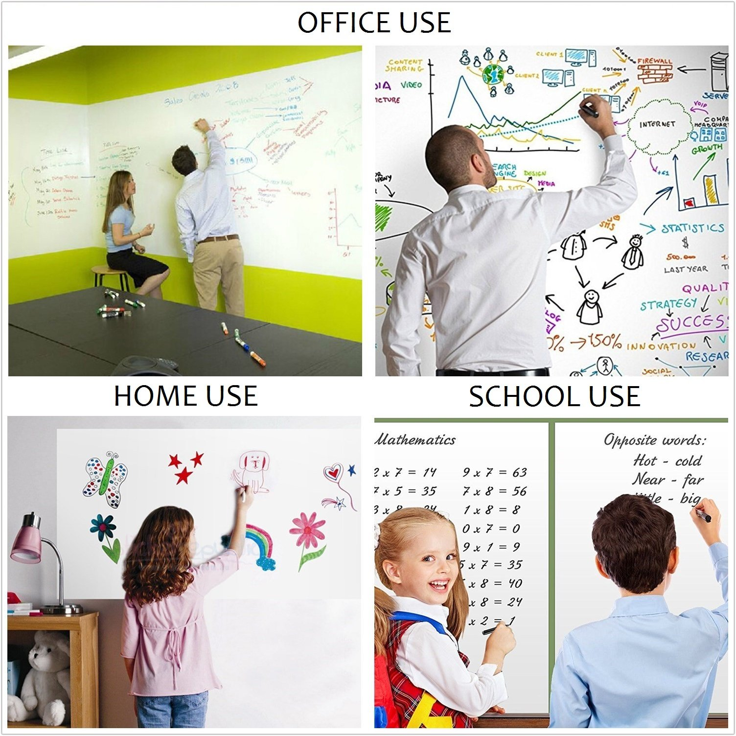 Dry Erase Wall Decal, UnityStar Whiteboard Sticker Extra Large Contact Paper with 3 Water-Based Pens for Home Office School Restaurant Menu, 17.7'' X 78.7'', White by UnityStar (Image #6)