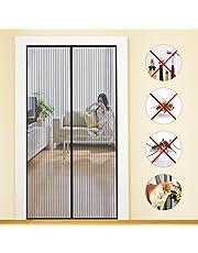 Moustiquaire porte Magnétique MYCARBON Moustiquaire sur Mesure de Porte,Rideau de Porte Antimoustique, pour Couloirs, Portes, Patio.Facile à installer le joint d'étanchéité (90cm*210cm, Rayure)