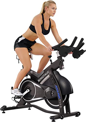 Sunny Health Fitness ASUNA 7150 Minotaur Exercise Bike Magnetic Belt Drive Commercial Indoor Cycling Bike with 330 LB Max Weight, SPD Style Cage Pedals and Aluminum Frame, Black
