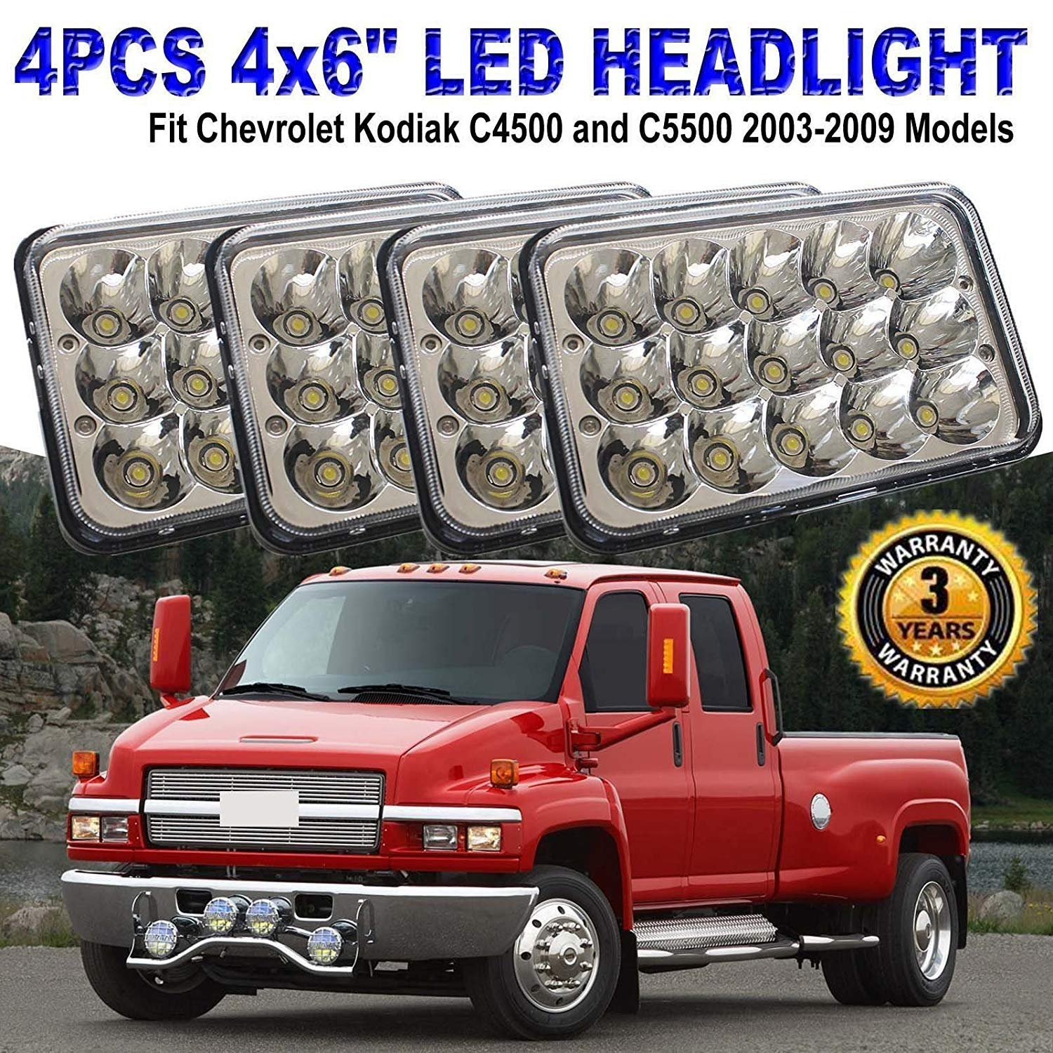 4x6 Inch Led Sealed Beam Headlight Bulbs For Gmc C4500 1979 4500 Electrical Wiring Diagram C5500 Vehicles W Dual High Low Headlamps Replace Hid Xenon H4651 H4652 H4656 H4666