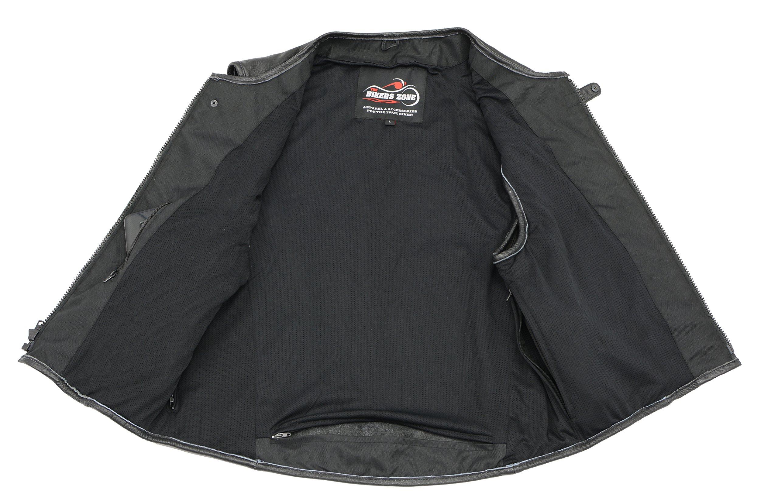 Men's Leather SWAT Style Vest | Premium Natural Buffalo Leather | Patch Access Lining, New Outseam Gun Pocket, Adjustable Side Straps, Zipper Front Closure | Black Biker Vest (Black, 3X-Large) by The Bikers Zone (Image #4)