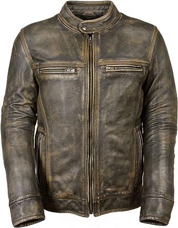 San Diego Leather Mens Distressed Brown Motorcycle Jacket-AIR Vents