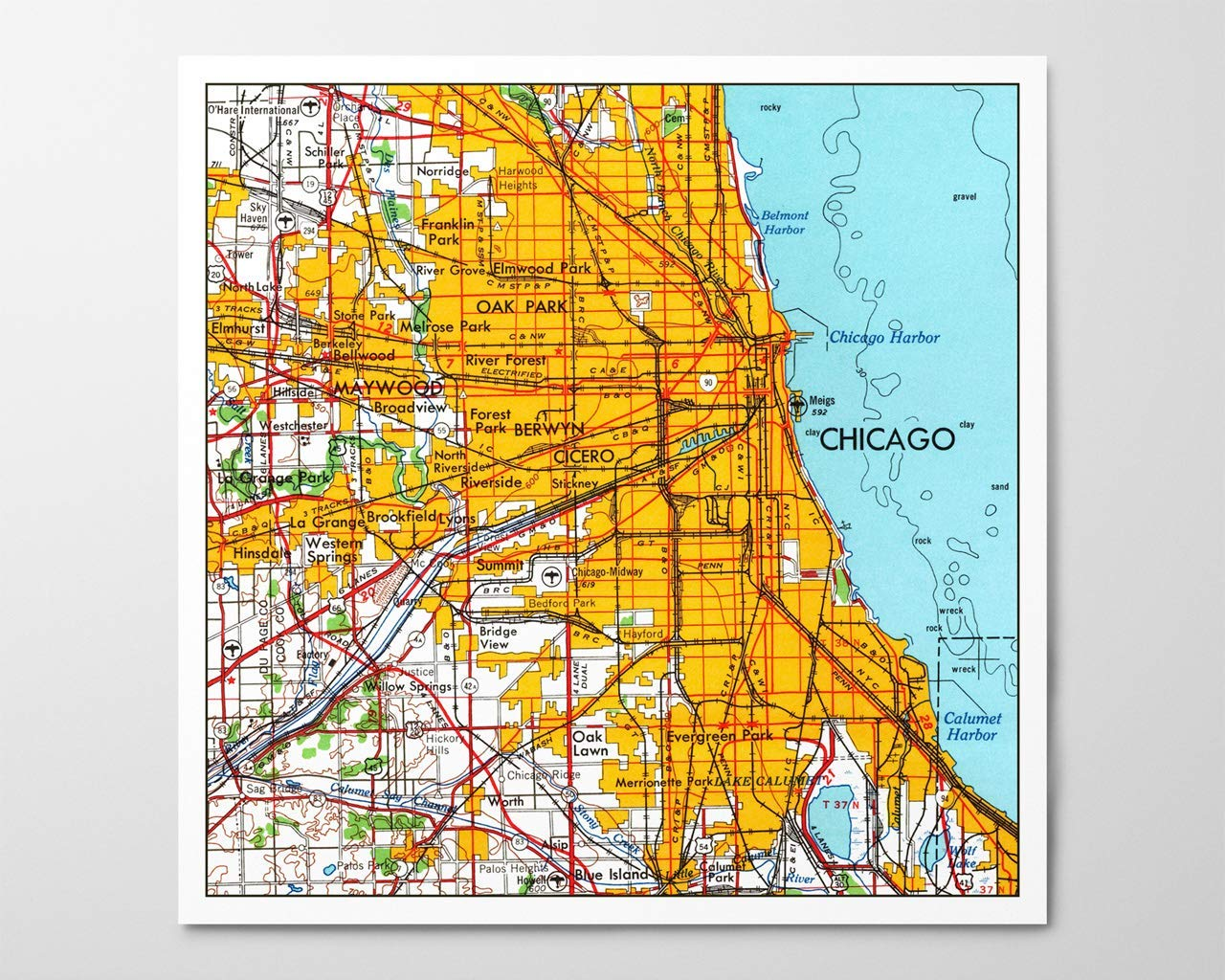 Amazon.com: 1950s Chicago Map, Archival Art Print ...
