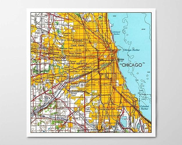 Oak Park Chicago Map.Amazon Com 1950s Chicago Map Archival Art Print Reproduction