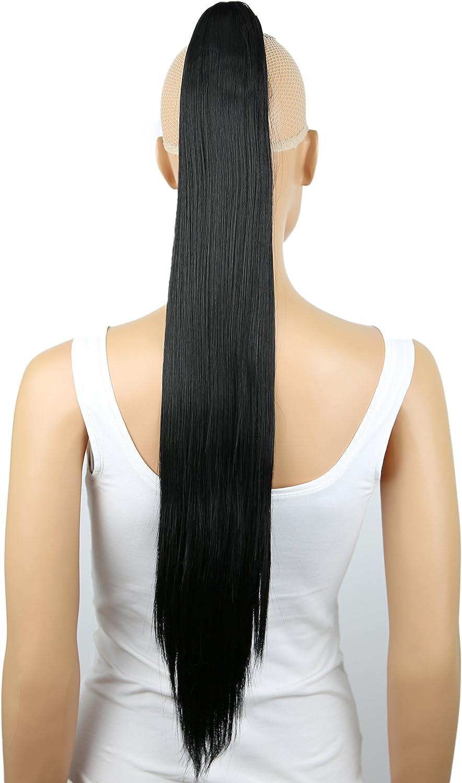 Pretty Shop - Pelo postizo, trenza, cola de caballo, liso, extensiones resistentes al calor, como pelo auténtico