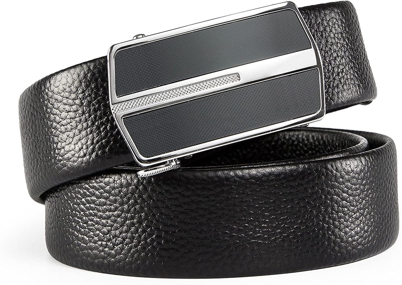 Mens Genuine Leather Belt Fashion Inner-Insert Automatic Buckle Belts For Men