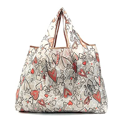 Reusable Folding Shopping Bag Eco Chic Beige Thistle Print