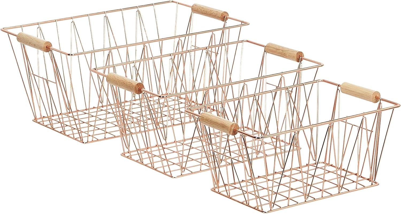 Basics Wire Storage Baskets Set of 3 Copper