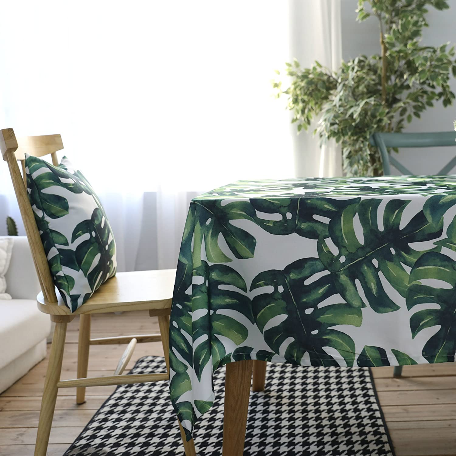 Drizzle Table Cloth Monstera Leaf Plant Palm Tree Rectangular Square Folding Table Cover Waterproof Polyester Cotton Country Garden for Kitchen Furniture (23 * 23in/60 * 60cm)