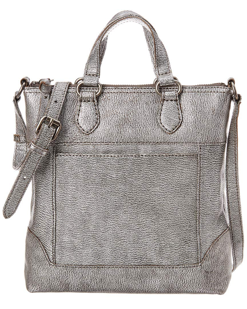 FRYE Melissa Small Tote Crossbody Leather Bag, silver